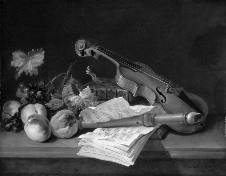 Oudry - still-life-with-a-violin-a-recorder-books-a-portfolio-of-sheet-of-music-peaches-and-grapes-on-a