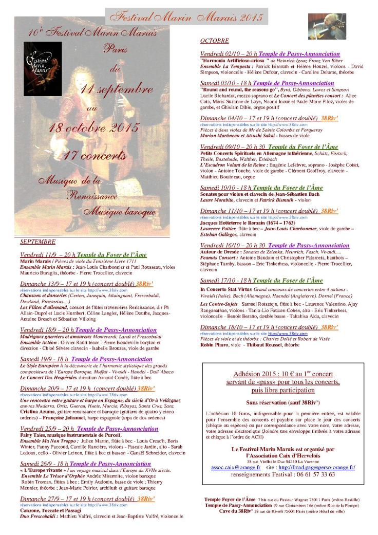 Programme Festival Marais 2015